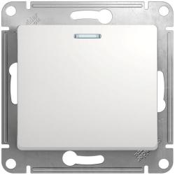 Выключатель одноклавишный с подсветкой Glossa (белый) GSL000113