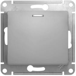 Выключатель одноклавишный с подсветкой Glossa (алюминий) GSL000313