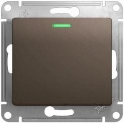Выключатель одноклавишный с подсветкой Glossa (шоколад) GSL000813