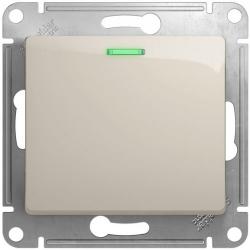 Выключатель одноклавишный с подсветкой Glossa (молочный) GSL000913