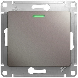 Выключатель одноклавишный с подсветкой Glossa (платина) GSL001213