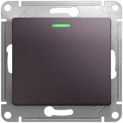 Выключатель одноклавишный с подсветкой Glossa (сиреневый туман) GSL001413
