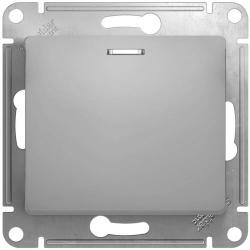 Проходной одноклавишный переключатель с подсветкой Glossa (алюминий) GSL000363