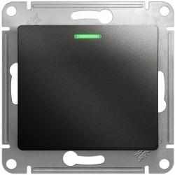 Проходной одноклавишный переключатель с подсветкой Glossa (антрацит) GSL000763