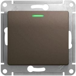 Проходной одноклавишный переключатель с подсветкой Glossa (шоколад) GSL000863