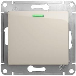 Проходной одноклавишный переключатель с подсветкой Glossa (молочный) GSL000963