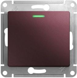 Проходной одноклавишный переключатель с подсветкой Glossa (баклажановый) GSL001163