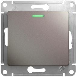Проходной одноклавишный переключатель с подсветкой Glossa (платина) GSL001263