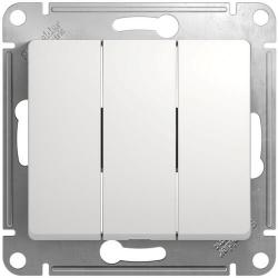 Выключатель трехклавишный Glossa (белый) GSL000131
