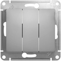Выключатель трехклавишный Glossa (алюминий) GSL000331