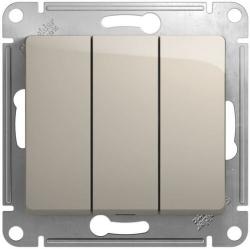 Выключатель трехклавишный Glossa (молочный) GSL000931