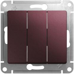 Выключатель трехклавишный Glossa (баклажановый) GSL001131