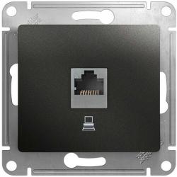 Розетка компьютерная RJ45 Glossa кат. 5e (антрацит) GSL000781K