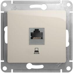 Розетка компьютерная RJ45 Glossa кат. 5e (молочный) GSL000981K