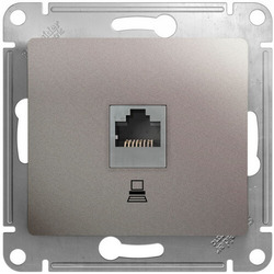 Розетка компьютерная RJ45 Glossa кат. 5e (платина) GSL001281K