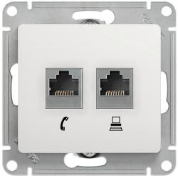 Розетка телефонная + компьютерная Glossa (белый) GSL000185