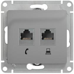 Розетка телефонная + компьютерная Glossa (алюминий) GSL000385