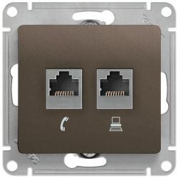 Розетка телефонная + компьютерная Glossa (шоколад) GSL000885