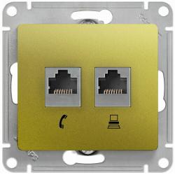 Розетка телефонная + компьютерная Glossa (фисташоковый) GSL001085