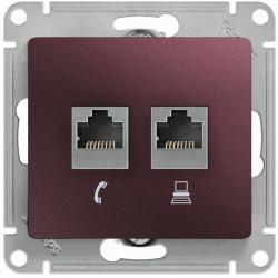 Розетка телефонная + компьютерная Glossa (баклажановый) GSL001185