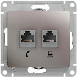 Розетка телефонная + компьютерная Glossa (платина) GSL001285