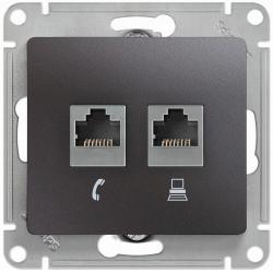 Розетка телефонная + компьютерная Glossa (графит) GSL001385