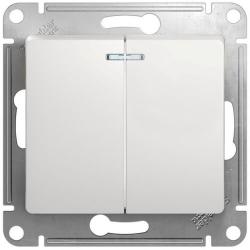 Выключатель двухклавишный с подсветкой Glossa (белый) GSL000153