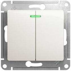 Выключатель двухклавишный с подсветкой Glossa (перламутр) GSL000653
