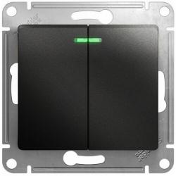 Выключатель двухклавишный с подсветкой Glossa (антрацит) GSL000753