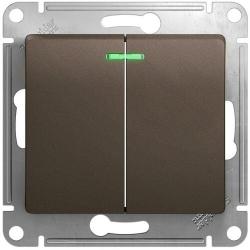 Выключатель двухклавишный с подсветкой Glossa (шоколад) GSL000853
