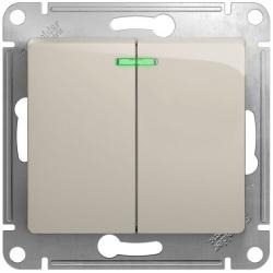 Выключатель двухклавишный с подсветкой Glossa (молочный) GSL000953