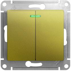 Выключатель двухклавишный с подсветкой Glossa (фисташоковый) GSL001053