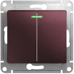 Выключатель двухклавишный с подсветкой Glossa (баклажановый) GSL001153