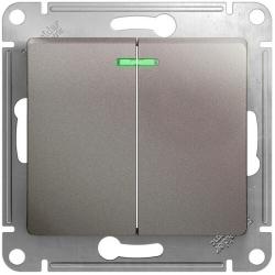 Выключатель двухклавишный с подсветкой Glossa (платина) GSL001253