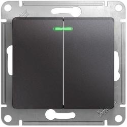 Выключатель двухклавишный с подсветкой Glossa (графит) GSL001353