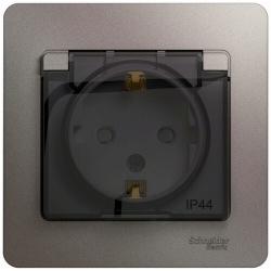 Розетка влагозащищенная c заземлением Glossa IP44 (платина) GSL001248