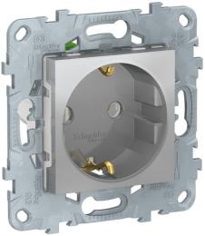 Розетка Unica New с заземлением со шторками винтовые клеммы (алюминий) NU503730