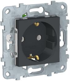 Розетка Unica New с заземлением со шторками винтовые клеммы (антрацит) NU503754