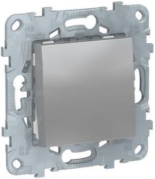 Проходной одноклавишный переключатель Unica New (алюминий) NU520330