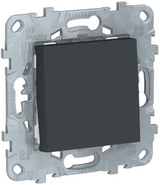 Проходной одноклавишный переключатель Unica New (антрацит) NU520354