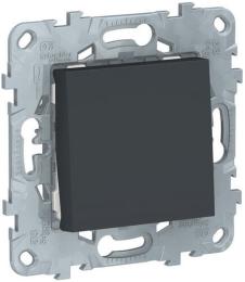 Одноклавишный кнопочный выключатель Unica New (антрацит) NU520654
