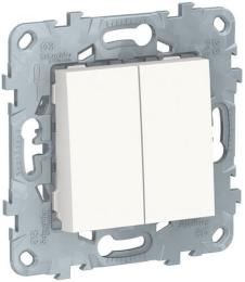 Выключатель двухклавишный Unica New (белый) NU521118