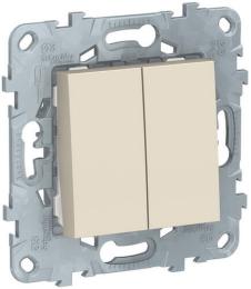 Проходной двухклавишный переключатель Unica New (бежевый) NU521344