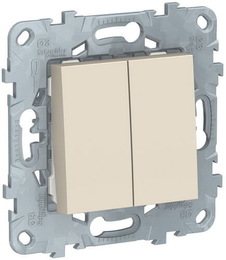 Перекрестный двухклавишный переключатель Unica New (бежевый) NU521544