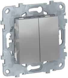 Проходной двухклавишный переключатель Unica New (алюминий) NU521330