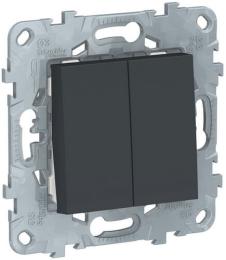 Проходной двухклавишный переключатель Unica New (антрацит) NU521354