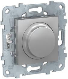 Светорегулятор поворотно-нажимной 5-200 Вт Unica New (алюминий) NU551430