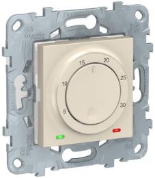 Термостат Unica New электронный 8А, встроенный термодатчик (бежевый) NU550144