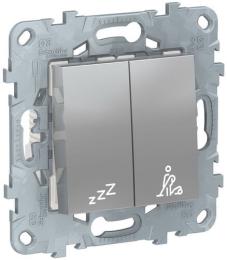 """Кнопочный выключатель Unica New """"Не беспокоить / Убрать"""" (алюминий) NU521730"""