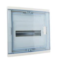 Шкаф Legrand Nedbox в нишу на 12(14) модулей с шинами (прозрачная дверь) 01421